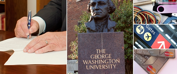 Photo collage of a contract signing, GW bust, office supplies, airport signage and a P-card